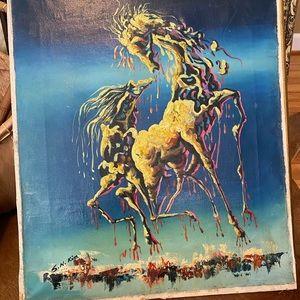 Vintage Wall Art - vintage mid-century horse oil painting